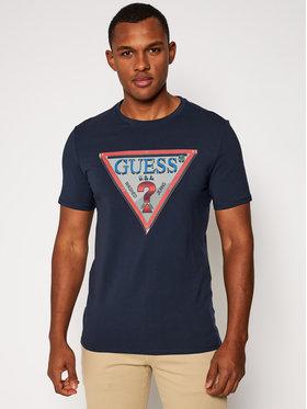 Guess Guess T-Shirt M0BI58 J1300 Granatowy Slim Fit