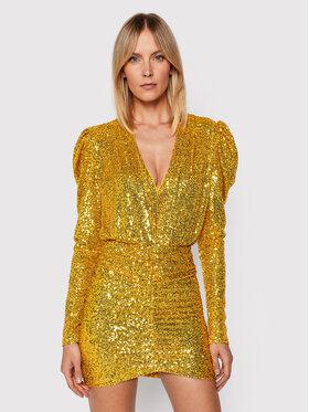 Pinko Pinko Koktejlové šaty Resistencia 20212 BLK01 1G16MJ Y7DW Zlatá Regular Fit