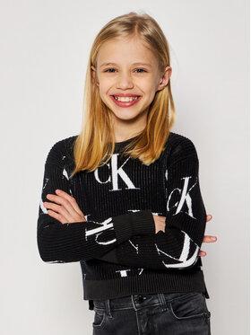 Calvin Klein Jeans Calvin Klein Jeans Svetr Oco Aop IG0IG00679 Černá Regular Fit