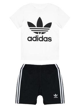 adidas adidas Komplektas: marškinėliai ir sportiniai šortai Trefoil FI8318 Juoda Regular Fit