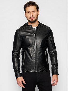 Jack&Jones Jack&Jones Kožená bunda Jprblacolt Leather 12193268 Černá Regular Fit