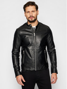 Jack&Jones Jack&Jones Kožená bunda Jprblacolt Leather 12193268 Čierna Regular Fit