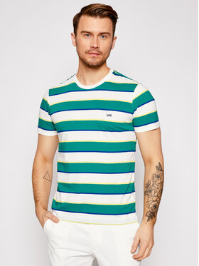 Lee Lee T-shirt Stripe L60XLAQD Verde Regular Fit