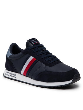 Tommy Hilfiger Tommy Hilfiger Sneakersy Runner Lo Leather Mix FM0FM03736 Granatowy