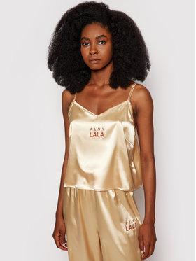 PLNY LALA PLNY LALA Koszulka piżamowa Susan PL-KO-A3-00001 Złoty Regular Fit