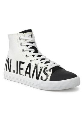Calvin Klein Jeans Calvin Klein Jeans Trampki Vulcanized Mid Sneaker Logo YM0YM00276 Biały
