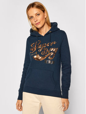Superdry Superdry Bluza Script Sequin Panel W2010438A Granatowy Regular Fit