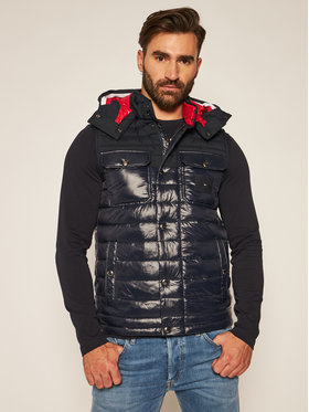 TOMMY HILFIGER TOMMY HILFIGER Kamizelka Quilted Hooded Vest MW0MW13735 Granatowy Regular Fit
