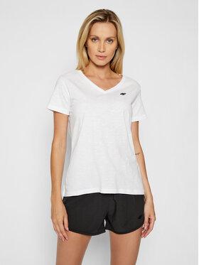 4F 4F T-Shirt NOSH4-TSD002 Biały Regular Fit