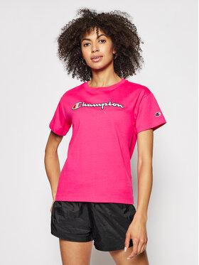 Champion Champion T-Shirt Vintage Script Logo Crew Neck 112650 Růžová Custom Fit