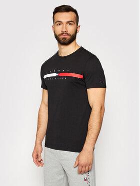 Tommy Hilfiger Tommy Hilfiger Tričko Global Stripe Chest MW0MW16572 Čierna Regular Fit