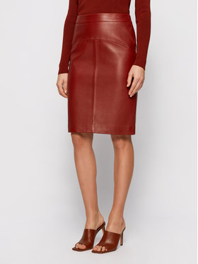 Boss Boss Kožna suknja Sebarbie1 50446151 Smeđa Slim Fit