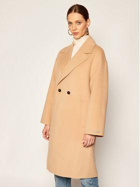 Marella Marella Vilnonis paltas Nube 30161008 Smėlio Regular Fit