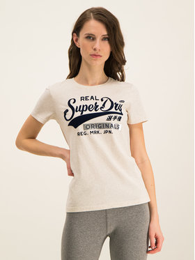 Superdry Superdry T-Shirt W1000020A Beżowy Regular Fit