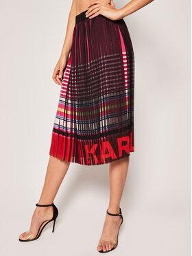 KARL LAGERFELD Plisovaná sukňa Stripe Print Pleated 201W1200 Farebná Regular Fit