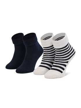 Boss Boss Sada 2 párů dětských vysokých ponožek J90214 Tmavomodrá