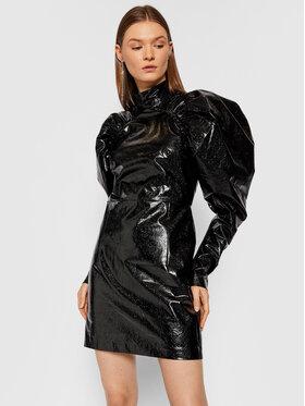 ROTATE ROTATE Šaty z imitace kůže Kim RT452 Černá Regular Fit