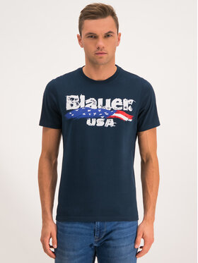 Blauer Blauer T-Shirt Brushstroke Print 19WBLUH02253 005568 Tmavomodrá Regular Fit