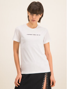 Diesel Diesel T-Shirt T-Sily-Copy T 00SBGH 0HERA Biały Regular Fit