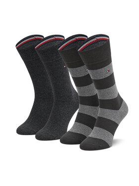 Tommy Hilfiger Tommy Hilfiger Súprava 2 párov vysokých pánskych ponožiek 342021001 Sivá