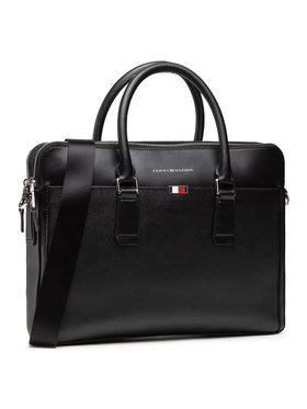 Tommy Hilfiger Tommy Hilfiger Brašna na notebook Business Leather Slim Comp AM0AM06842 Černá