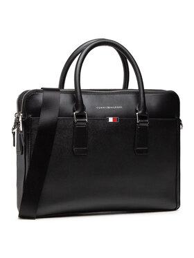 Tommy Hilfiger Tommy Hilfiger Geantă pentru laptop Business Leather Slim Comp AM0AM06842 Negru