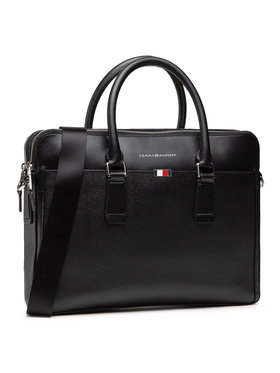 Tommy Hilfiger Tommy Hilfiger Taška na laptop Business Leather Slim Comp AM0AM06842 Čierna