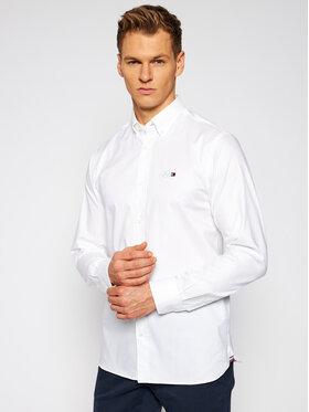 Tommy Hilfiger Tailored Tommy Hilfiger Tailored Marškiniai MERCEDES-BENZ Stretch Oxford TT0TT08304 Balta Regular Fit