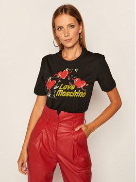 LOVE MOSCHINO LOVE MOSCHINO Marškinėliai W4H0602M 3876 Juoda Regular Fit