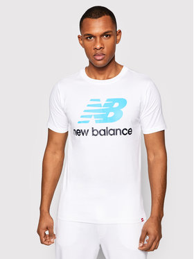 New Balance New Balance Marškinėliai Essentials Stacked Logo Tee MT01575 Balta Athletic Fit
