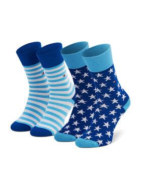 Tommy Hilfiger Tommy Hilfiger Set de 2 perechi de șosete lungi pentru copii 100000816 Albastru