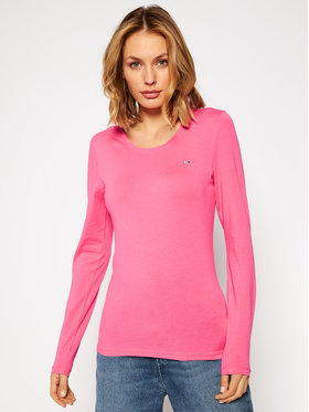 Tommy Jeans Tommy Jeans Blúzka Stretch Scoop Neck DW0DW08956 Ružová Regular Fit
