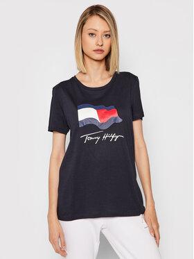 Tommy Hilfiger Tommy Hilfiger T-Shirt Motion Flag WW0WW33103 Granatowy Regular Fit