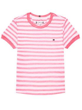 Tommy Hilfiger Tommy Hilfiger T-Shirt Essential Stripe KG0KG05766 M Różowy Regular Fit
