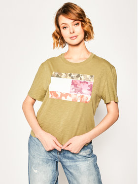 Tommy Jeans Tommy Jeans T-Shirt Camo Flag Tommy Tee DW0DW08051 Zelená Regular Fit