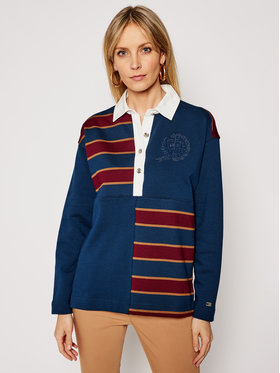 Tommy Hilfiger Tommy Hilfiger Pullover ICONS Rugby Top Ls WW0WW29393 Dunkelblau Oversize