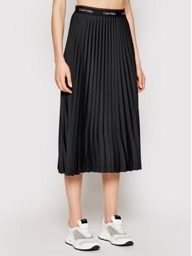 Calvin Klein Calvin Klein Spódnica plisowana Logo Waistband Pleat K20K202645 Czarny Regular Fit