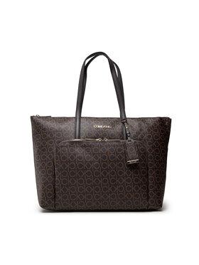 Calvin Klein Calvin Klein Дамска чанта Must Shopper Lg W/Pocket Mono K60K608569 Кафяв