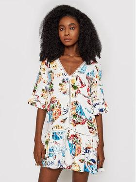 Desigual Desigual Letní šaty Lombok 21SWMW06 Bílá Relaxed Fit