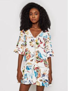 Desigual Desigual Sukienka letnia Lombok 21SWMW06 Biały Relaxed Fit