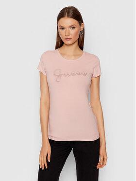 Guess Guess T-shirt Split Script Logo W1BI22 KAKZ1 Rose Slim Fit