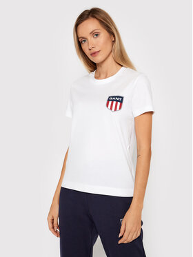Gant Gant T-Shirt Retro Shield 4200219 Weiß Relaxedr Fit