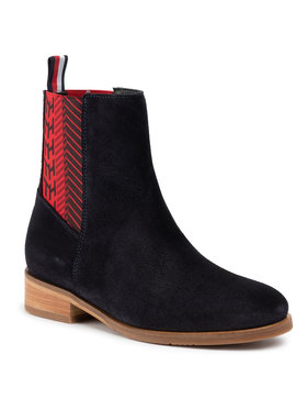 TOMMY HILFIGER TOMMY HILFIGER Štibletai Monogram Flat Boot FW0FW04581 Tamsiai mėlyna