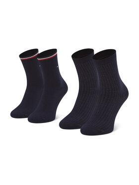 Tommy Hilfiger Tommy Hilfiger Set od 2 para ženskih visokih čarapa 100002398 Tamnoplava