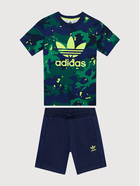 adidas adidas Komplet t-shirt i szorty sportowe Allover Print Camo H20302 Kolorowy Regular Fit