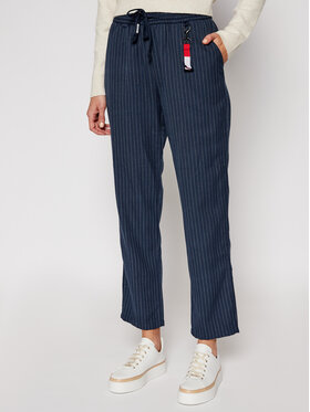 Tommy Jeans Tommy Jeans Kalhoty z materiálu Pinstripe DW0DW09095 Tmavomodrá Regular Fit