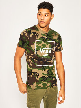 Vans Vans T-Shirt Print Box VN0A312SC9H1 Zelená Slim Fit