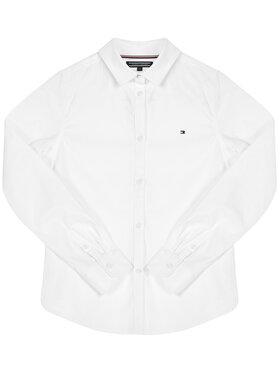 Tommy Hilfiger Tommy Hilfiger Koszula Girls Stretch Poplin KG0KG03530 S Biały Regular Fit