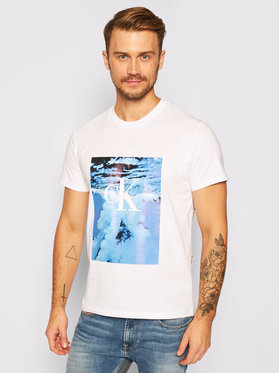 Calvin Klein Jeans Calvin Klein Jeans T-shirt Wave Photoprint J30J315734 Blanc Regular Fit