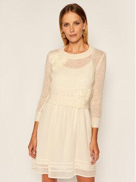TwinSet Komplet sukienka letnia i sweter 202TP3262 Biela Regular Fit